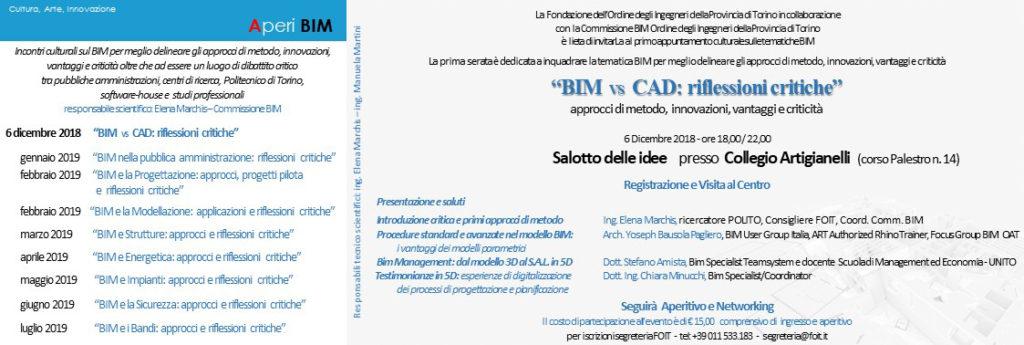 """AperiBIM: """"BIM vs CAD: riflessioni critiche"""" a Torino"""