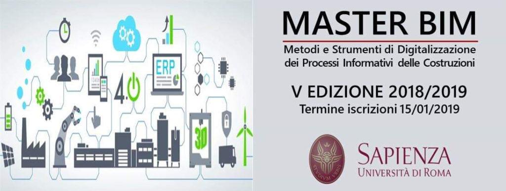 Master BIM 2019 dell'Università La Sapienza di Roma: l'evoluzione tecnologica e legislativa chiede nuove figure professionali