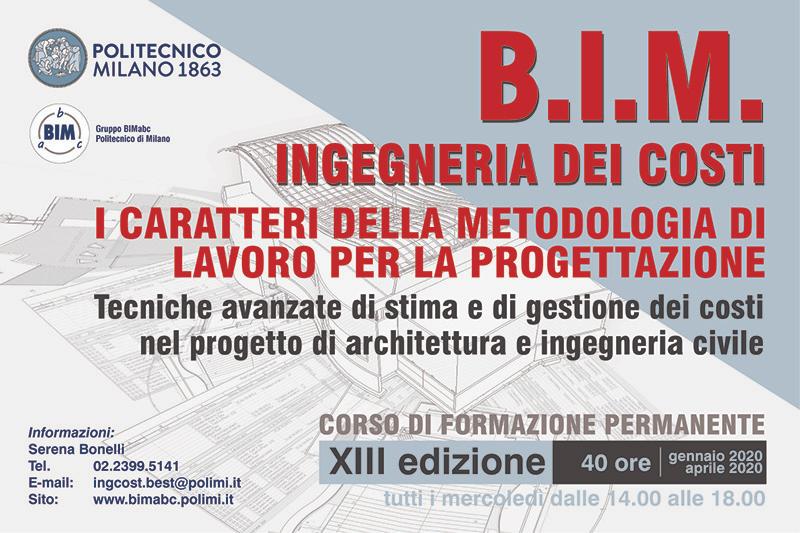 """Corso """"BIM – Ingegneria dei Costi"""" al Politecnico di Milano"""