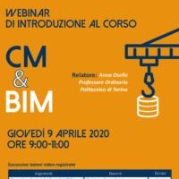 """9 Aprile – Webinar """"BIM: corso a distanza per le imprese edili"""""""