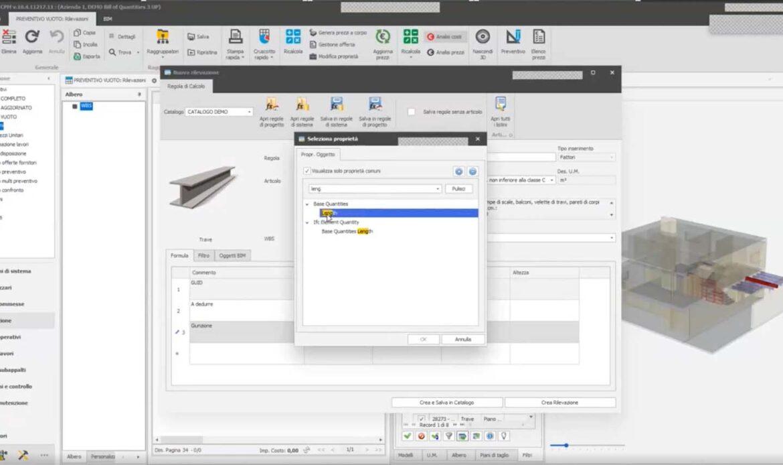 BIM e Quantity Take-off: computazione e preventivazione dei costi dal modello 3D