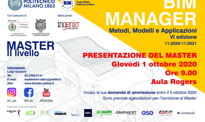 Master BIM Manager 2020-2021 al Politecnico di Milano