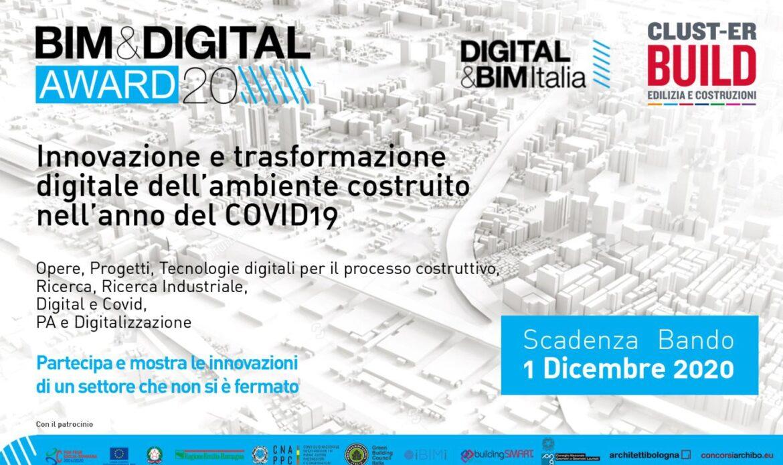 BIM&DIGITAL Awards 2020, candidature entro il 1 dicembre 2020