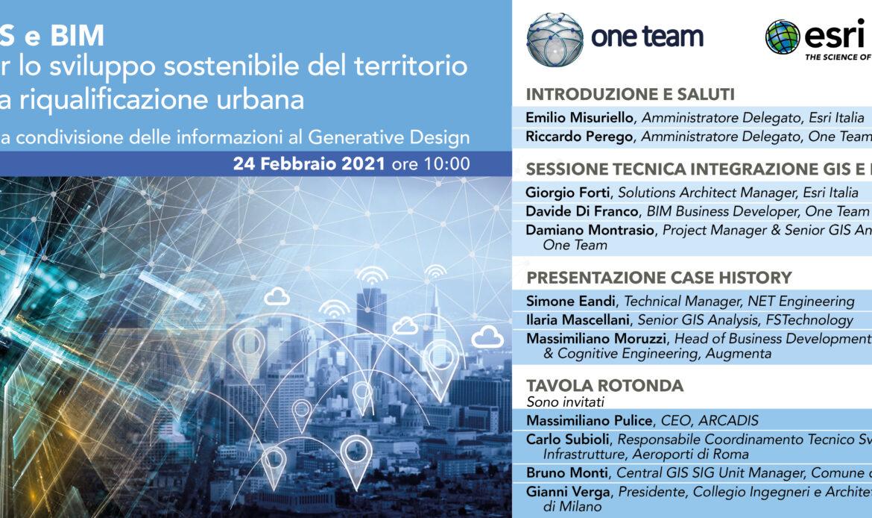 24 febbraio – GIS e BIM per lo sviluppo sostenibile del territorio e la riqualificazione urbana