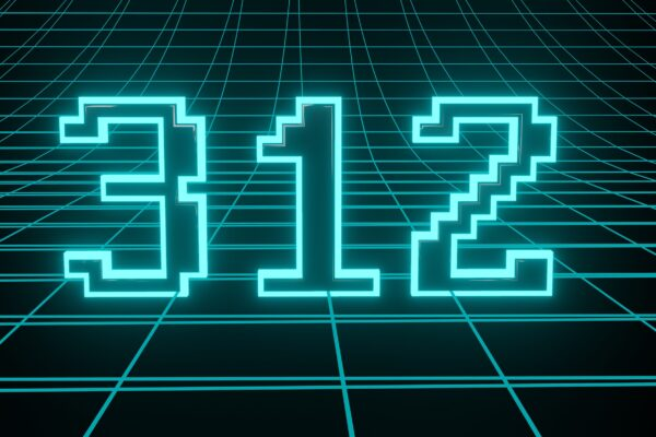 Number 312 in neon glow cyan on grid background, isolated number 3d render